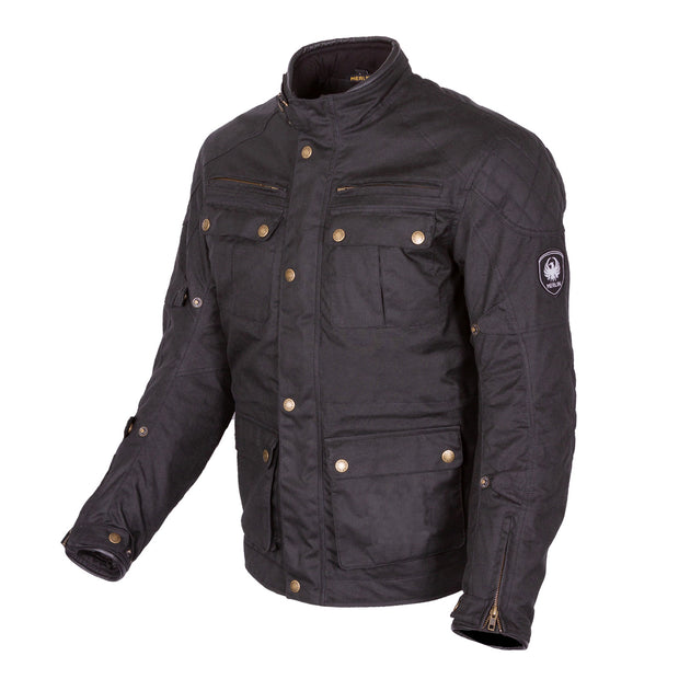 Merlin Yoxall II, Waxed Armoured Motorcycle Jacket Black