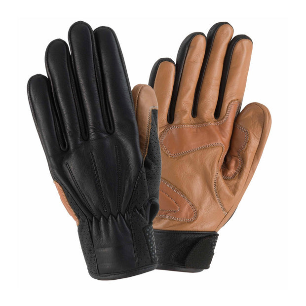 Rayven Napoli Leather Gloves, Black & Tan - Foxxmoto