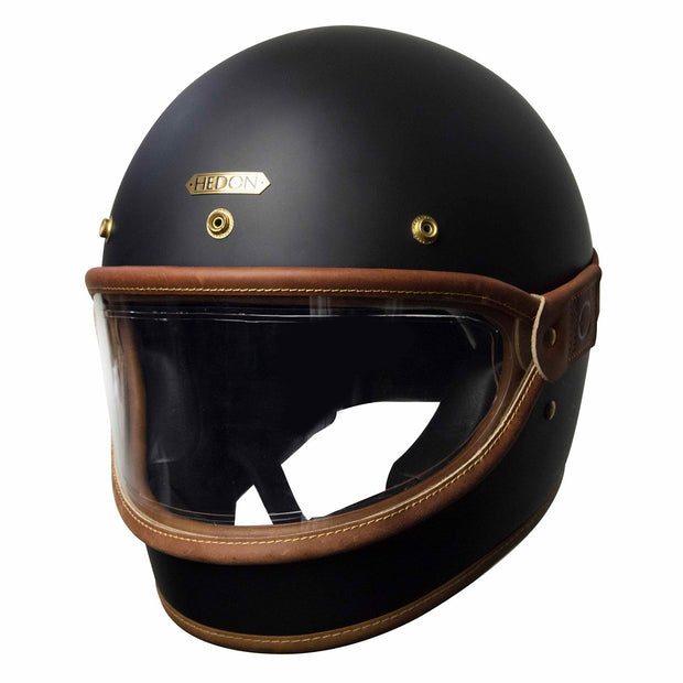 Hedon Heroine Goggle Visor, Brown Trim & Clear Lens with brass rivets - Foxxmoto