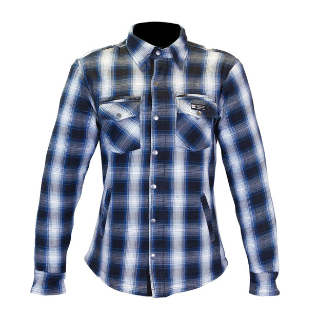 Merlin Madison, Kevlar Riding Shirt Blue/Cream at Foxxmoto