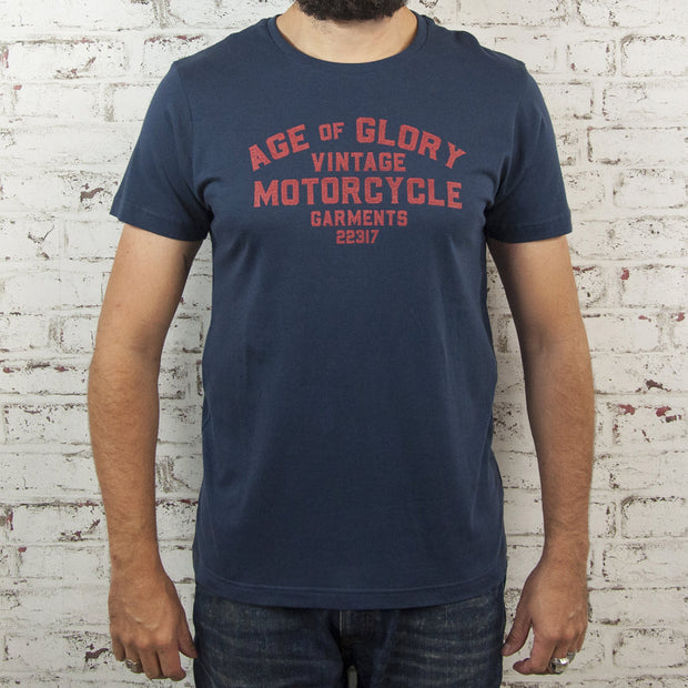 Age of Glory Navy Vintage Motorcycle Garments T Shirt