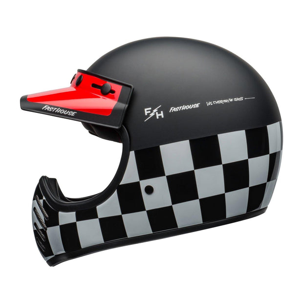 Bell Cruiser Moto 3 Helmet, Fasthouse Chequers Black, White & Red - Foxxmoto