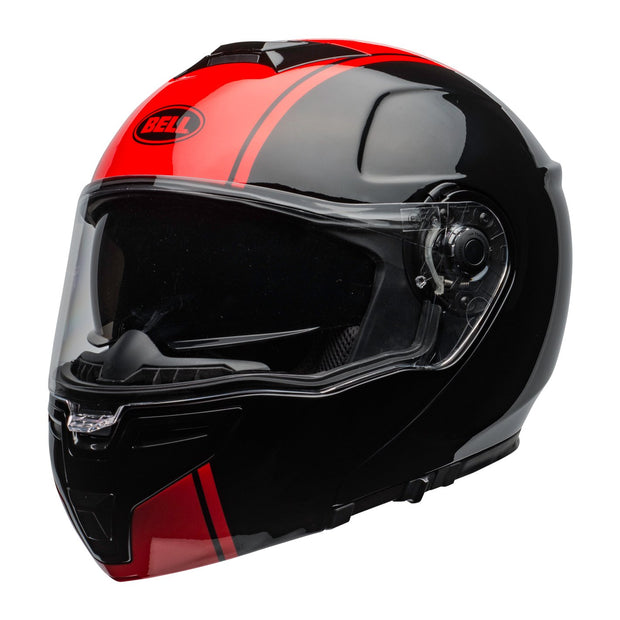 Bell Street SRT Modular Helmet, Ribbon Black/Red - Foxxmoto