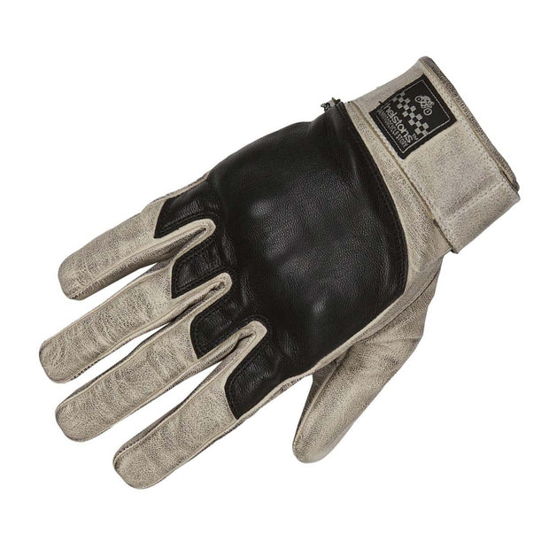 Helstons Wolf Leather Gloves - Beige/Black at Foxxmoto