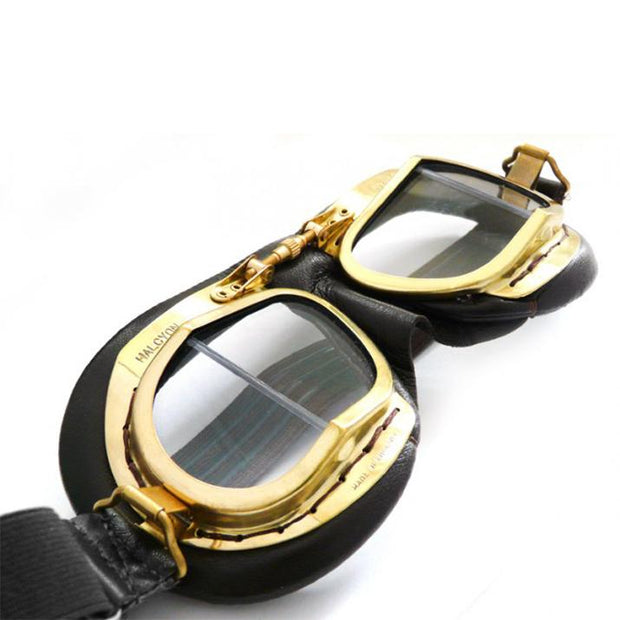Halcyon Mark 49 Vintage Goggles, Brass & Antique Black Leather - Foxxmoto