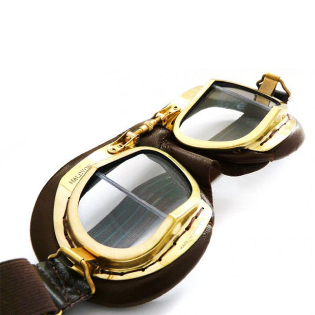Halcyon Mark 49 Vintage Goggles, Brass & Antique Brown Leather - Foxxmoto