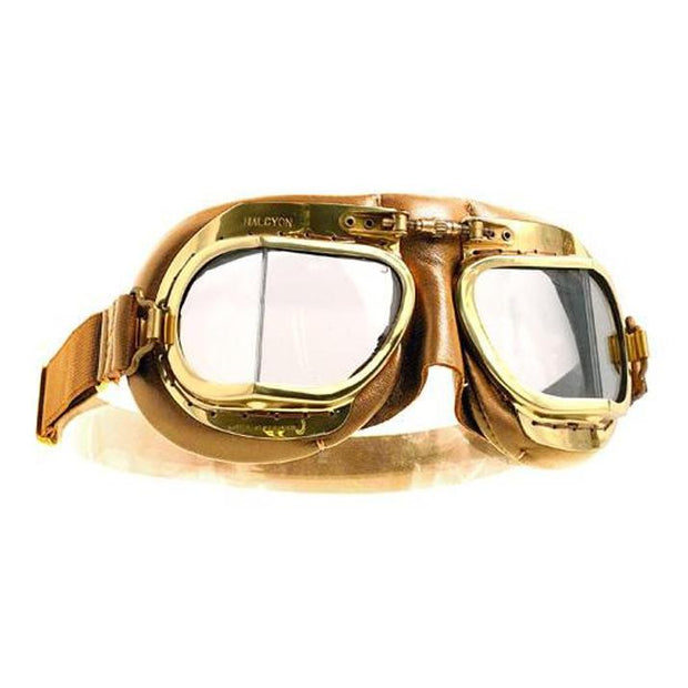 Halcyon Mark 49 Vintage Goggles, Brass & Antique Tan Leather - Foxxmoto
