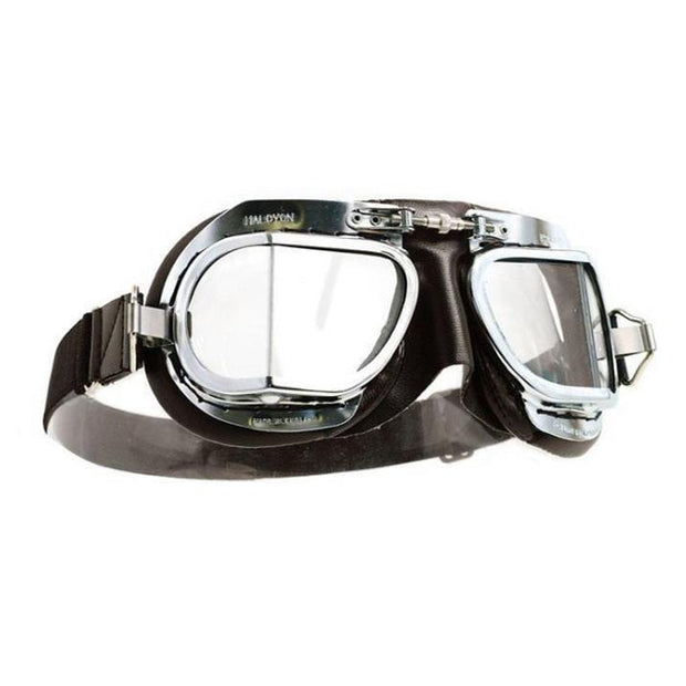 Halcyon Mark 9 Deluxe Goggles, Chrome & Brown PVC - Foxxmoto