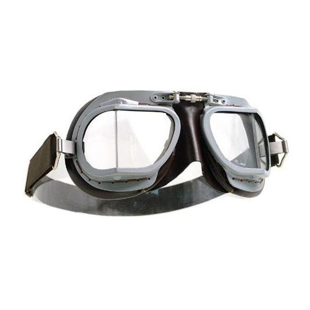 Halcyon Mark 9 Deluxe Goggles, Silver Painted & Brown Leather - Foxxmoto