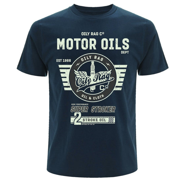 Oily Rag Heritage Motor Oils Denim Blue T Shirt - Foxxmoto