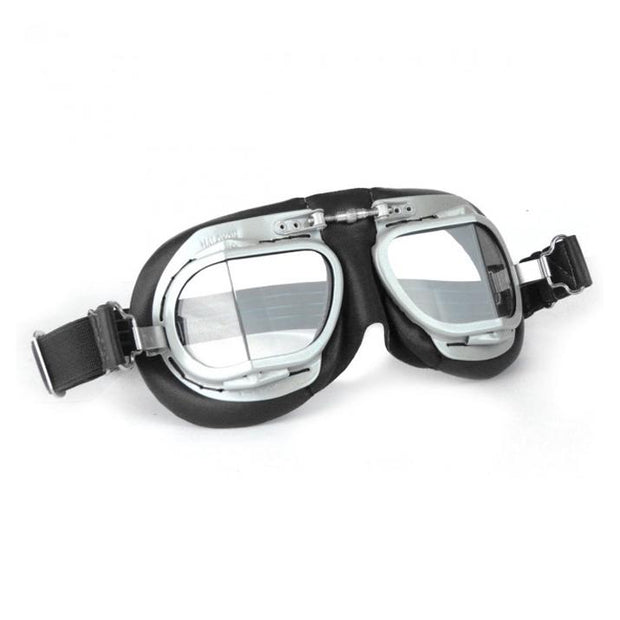 Halcyon Mark 9 Deluxe Goggles, Silver Painted & Black Leather - Foxxmoto