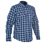 Oxford Kickback, Kevlar Lined Motorcycle Shirt, Blue/White Chequer - Foxxmoto