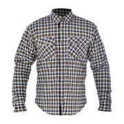 Oxford Kickback Kevlar Lined Motorcycle Shirt, Khaki Chequer - Foxxmoto