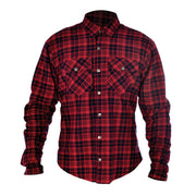 Oxford Kickback Kevlar Lined Motorcycle Shirt, Red/Black Chequer - Foxxmoto