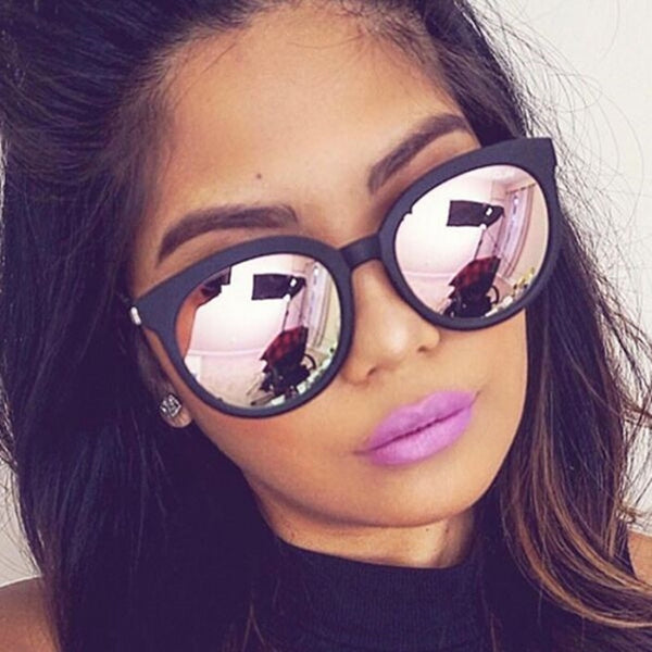 Cat eye pink sunglasses woman shades mirror
