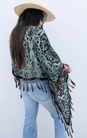 Gypset Summer Medallion Velvet Burnout Tassel Kimono - Teal