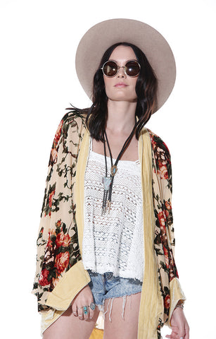 Flower Child Floral Oval Batwing Jacket