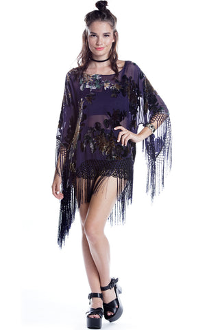 Jagger Grape Floral Velvet Burnout Fringe Top