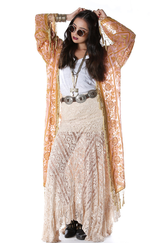 Gypset Medallion Velvet Burnout Tassel Kimono Rose Gold