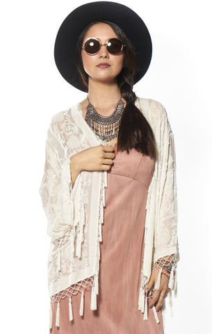 White Magic Medallion Velvet Burnout Tassel Kimono