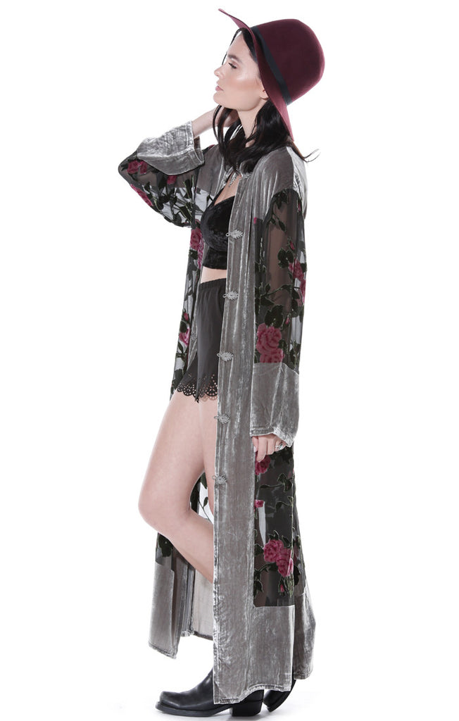Wild Heart Floral Velvet Burnout Duster