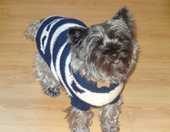 Wool Knitted Dog Coat/Jumper Hearts & Stripes