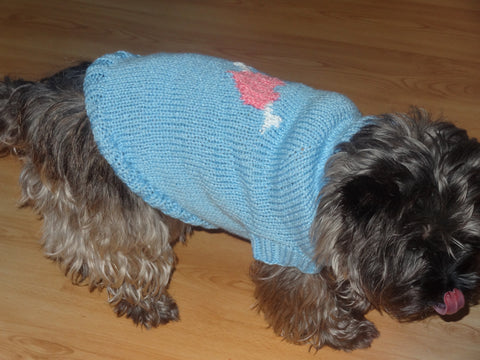 "Wool Knitted Dog Coat/Jumper ""Be my Valentine"""