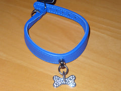 """Collier os Crystal"" Dog Collar with Bone Charm"