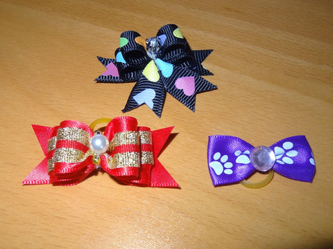 Hair Bow for Dog or Cat with Small Rubber Band