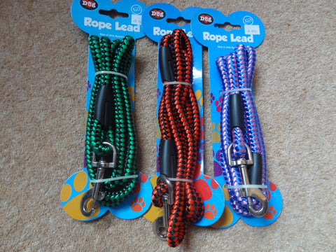 1.2m Rope Dog Lead from World Of Pets Various Colours