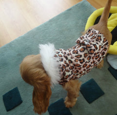 Dog Quilted Coat Pink Leopard Velcro Fastening