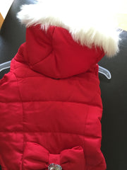 Dog Quilted Coat Red with White Fur Trimmed Hood