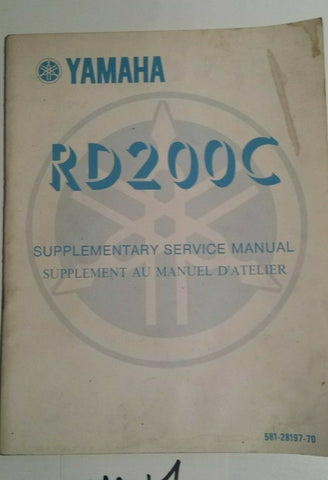 YAMAHA RD 200C SUPPLEMENTARY SERVICE MANUAL 581-28197-70 OEM YAMAHA