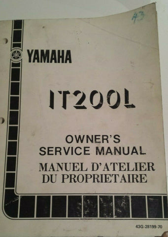 1984 IT200L SERVICE MANUAL OEM YAMAHA