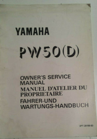 1992 PW 50 D Y-ZINGER OWNERS SERVICE MANUAL OEM YAMAHA
