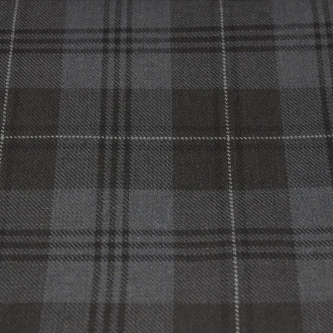 Tartan Fabric - Grey Granite