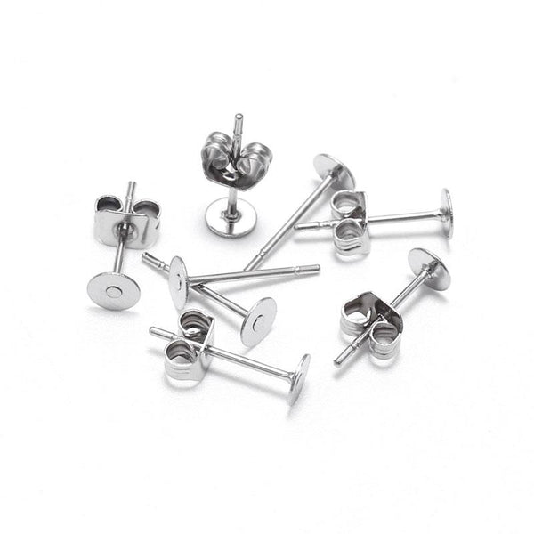 Stainless Steel Earring Posts and Backs (100 Pcs)