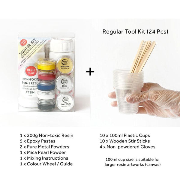 Resin Play Starter Kit - Mixing Cups, Stirrers & Gloves Included