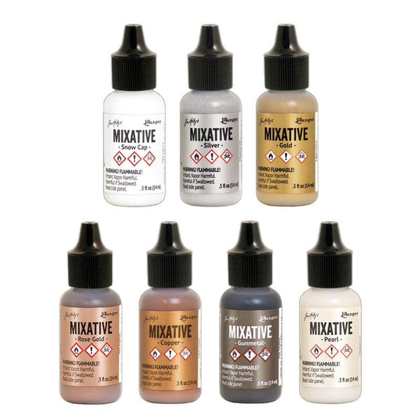 Tim Holtz Ranger Alcohol Inks - White & Metallic Mixatives (14.8ml)