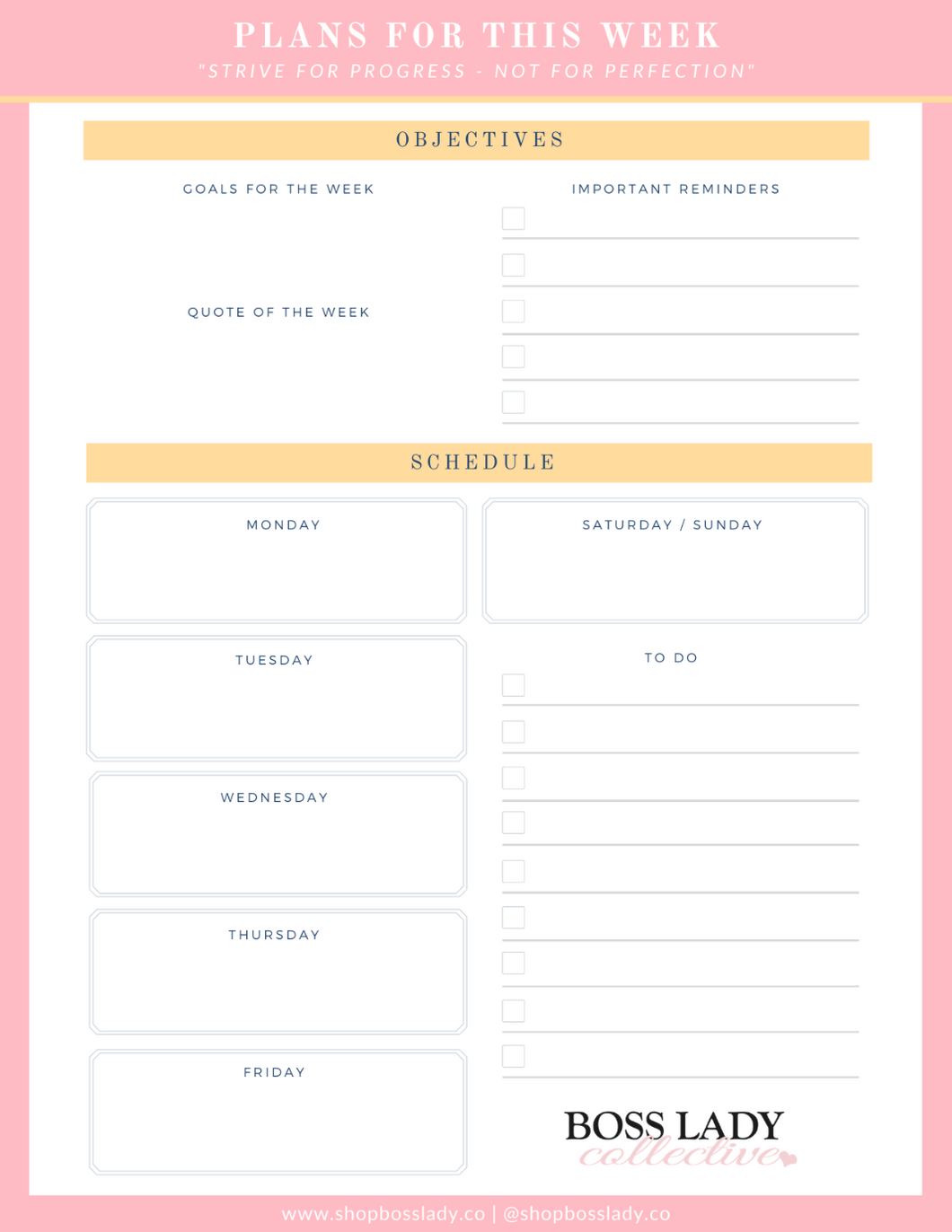Boss Lady Weekly Planning Notepad