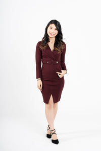 Jasingam Burgundy Belted Blazer Dress