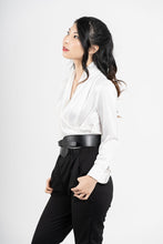 Load image into Gallery viewer, Etemad White Draped V-Neck Blouse