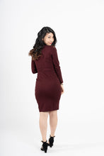 Load image into Gallery viewer, Jasingam Burgundy Belted Blazer Dress