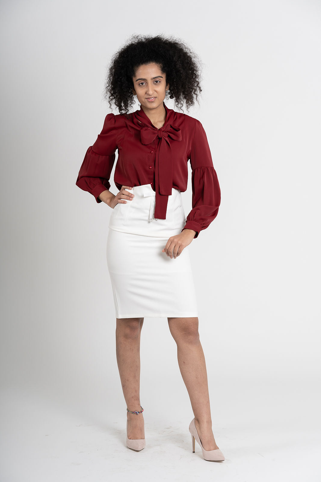 Aftopepoíthisi High Waisted White Pencil Skirt