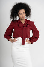 Load image into Gallery viewer, Aftopepoíthisi Red Ribbon Bow Blouse