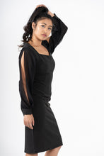 Load image into Gallery viewer, Confiant Black Shoulder Slit Pencil Dress