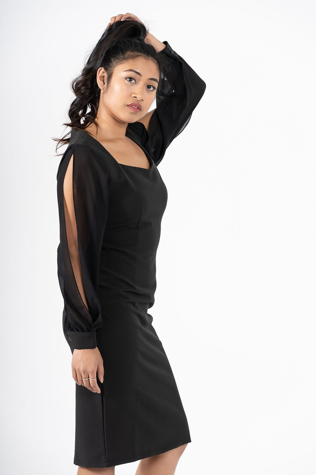 Confiant Black Shoulder Slit Pencil Dress