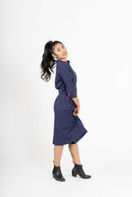 Load image into Gallery viewer, Jishin Ga Aru Navy Blue A-Line Contrast Button Shirt Dress