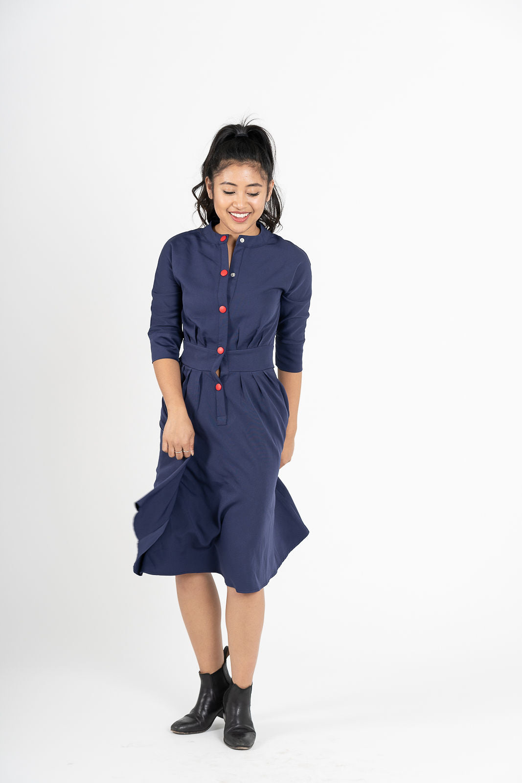 Jishin Ga Aru Navy Blue A-Line Contrast Button Shirt Dress