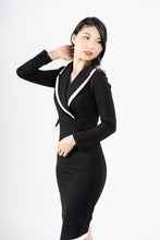 Load image into Gallery viewer, Confindente Asymmetric Black & White Bodycon Blazer Dress